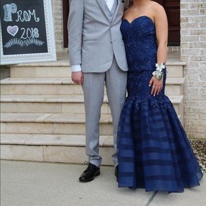 Navy blue exclusive prom dress